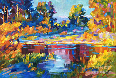 Plein Air Painting - Reflections On A Quiet Lake by David Lloyd Glover