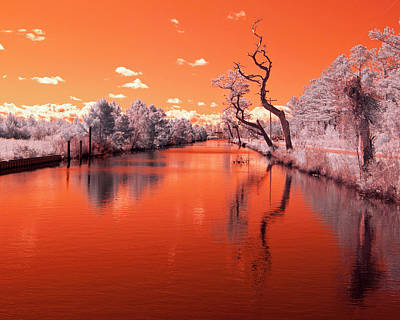 Reflections On Canal In Infra Red Art Print by Jackie Briggs