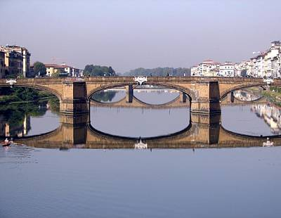 Photograph - Reflections On The River Arno by Diane Height