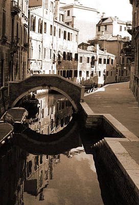 Photograph - Reflections On Venetian Canal by Donna Corless