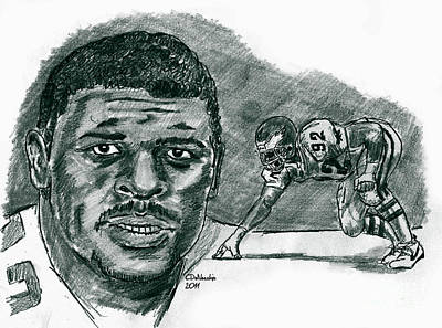 Drawing - Reggie White Minister Of Defense by Chris  DelVecchio