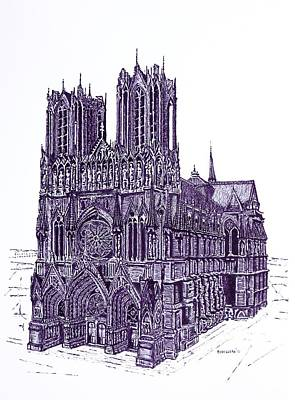 Ink Drawing Drawing - Reims Cathedral A Pen And Ink Drawing On Paper by Mario Perez