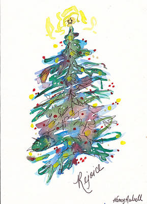 Rejoice Christmas Tree Original by Michele Hollister - for Nancy Asbell