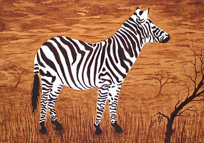 Zebra In Painting - Relaxing Zebra In African Savanna by Georgeta  Blanaru
