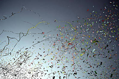 Streamers Photograph - Release Of Confetti Under Blue Sky by Jeren (France)