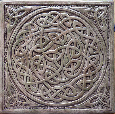 Ceramic Relief - Relief Carved Celtic Knot Tile by Shannon Gresham