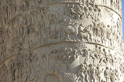 Hand Made Photograph - Relief. Detail View Of The Trajan Column. Rome by Bernard Jaubert