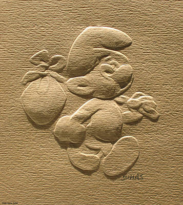 Photograph - Relief Smurf On Paper  by Suhas Tavkar