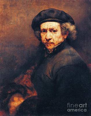 Painting - Rembrandt Self Portrait by Pg Reproductions