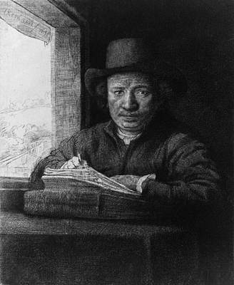 Self-portrait Photograph - Rembrandt Van Rijn 1606-1669, In A Self by Everett