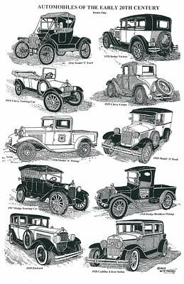Ford Model T Car Drawing - Remember The Days 1 by Bill Friday