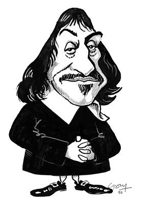 Rene Descartes, Caricature Art Print by Gary Brown