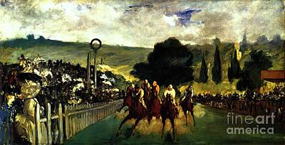 Race Horse Painting - Rennen In Longchamp by Pg Reproductions