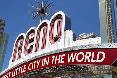 Reno . The Biggest Little City In The World Art Print by Wingsdomain Art and Photography
