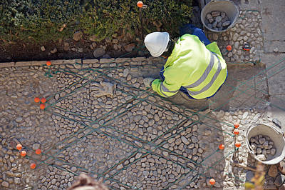 Photograph - Repairing A Cobbled Pavement by Rod Jones