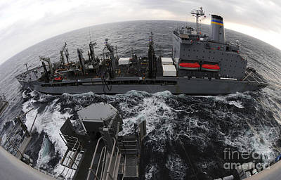 Photograph - Replenishment At Sea Between Usns by Stocktrek Images