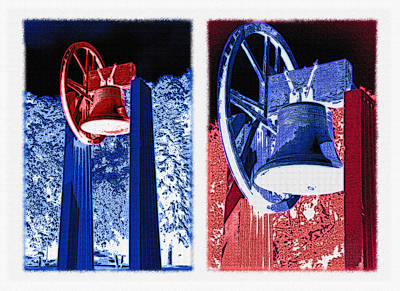 Replica Of Liberty Bell - Americana Rwb Diptych - Inverted Print by Steve Ohlsen