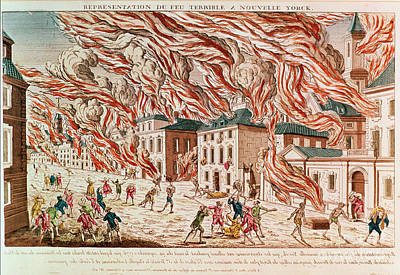 Horrors Of War Painting - Representation Of The Terrible Fire Of New York by French School
