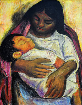 Reproduction Of Diego Rivera's- Mother And Child Print by Duwayne Washington