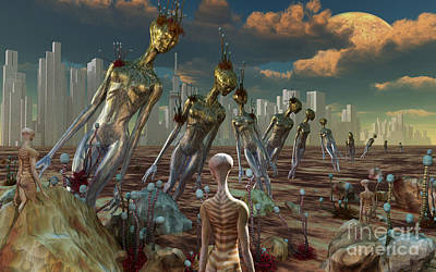 Ancient Civilization Digital Art - Reptoid Aliens Discover Remnants by Mark Stevenson