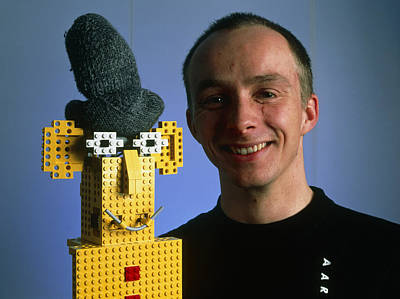 Researcher With His Happy Emotional Lego Robot Art Print