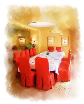 Restaurant Interior Menu Cover  Art Print by Michael Greenaway