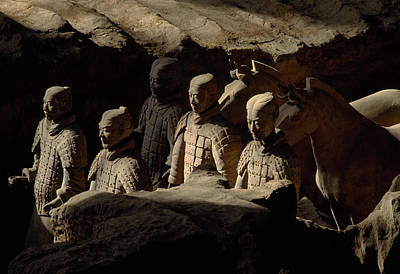 Qin Shi Huang Photograph - Restored Terra-cotta Soldiers Lead by O. Louis Mazzatenta