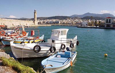 Rethymnon Harbour In Crete  Art Print by Paul Cowan