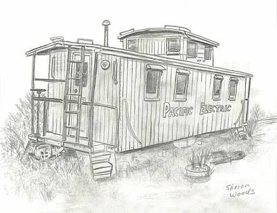 Caboose Drawing - Retired Caboose by Sharon  Woods