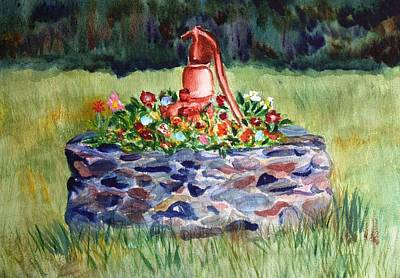 Walsh Painting - Retired Water Pump by Donna Walsh