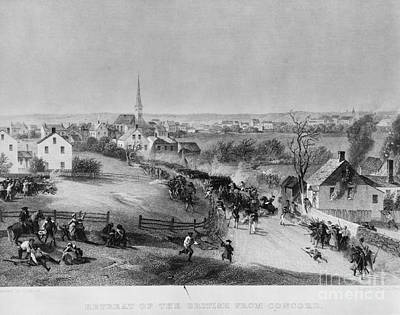 Retreat Of British From Concord Print by Photo Researchers