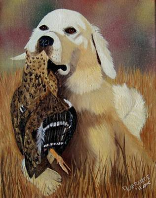 Canine Painting - Retriever At Work by Debbie LaFrance