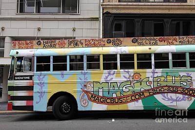 Retro 60s San Francisco Haight Ashbury Magic Bus - 5d17924 Print by Wingsdomain Art and Photography