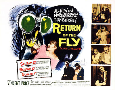 Return Of The Fly, Vincent Price, Ed Art Print by Everett