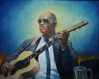 Painting - Rev. Gary Davis by Mark Haley