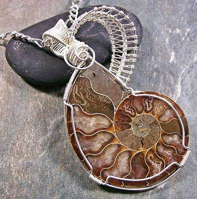 Heather Jordan Jewelry - Reversible Opalized Ammonite Fossil And Silver Wire-wrapped Pendant by Heather Jordan