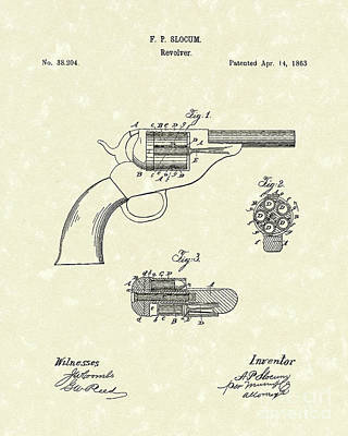 Six Shooter Drawing - Revolver 1863 Patent Art by Prior Art Design