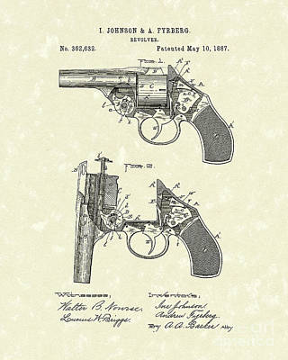 Six Shooter Drawing - Revolver 1887 Patent Art by Prior Art Design