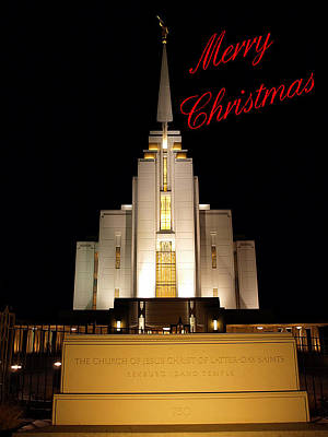 Photograph - Rexburg Temple At Night Christmas by DeeLon Merritt