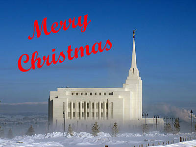 Photograph - Rexburg Temple Christmas by DeeLon Merritt