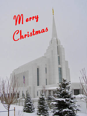Photograph - Rexburg Temple In Snow For Chritmas by DeeLon Merritt