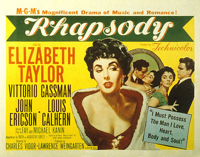 Fid Photograph - Rhapsody, Elizabeth Taylor, 1954 by Everett