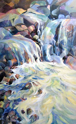 Art Print featuring the painting Rhapsody In Blues And Greens by Rae Andrews