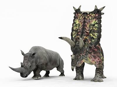 Rhinoceros Photograph - Rhino And Pentaceratops Dinosaur by Walter Myers