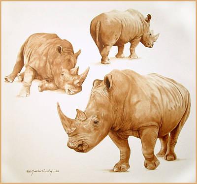 Rhinocerus Painting - Rhinos by Ricardo Morales-Hendry