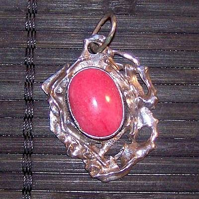 Rhodonite And Silver Pendant Original