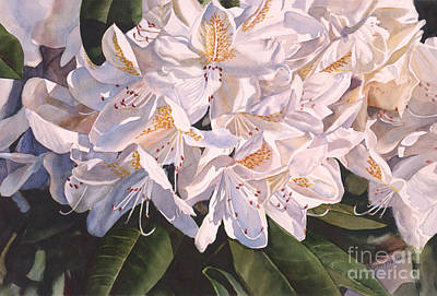 White Flowers Painting - Rhody In The Morning Sun by Sharon Freeman