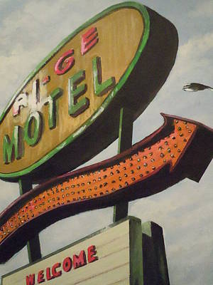 Art Print featuring the painting Ri-ge Motel by James Guentner