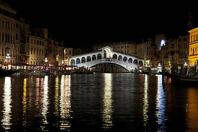 Rialto Bridge At Night Art Print