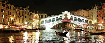 Rialto Bridge Night Scene Art Print